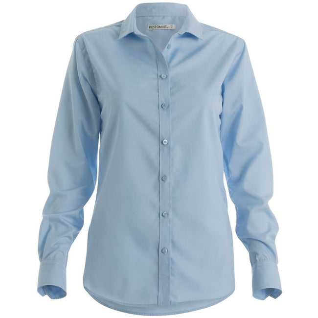Light Blue - Front - Kustom Kit Womens-Ladies Non-Iron Long Sleeve Corporate Shirt