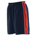 Navy- Red- White - Back - Finden & Hales Mens Contrast Sports Shorts