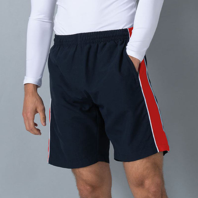 Navy- Red- White - Side - Finden & Hales Mens Contrast Sports Shorts