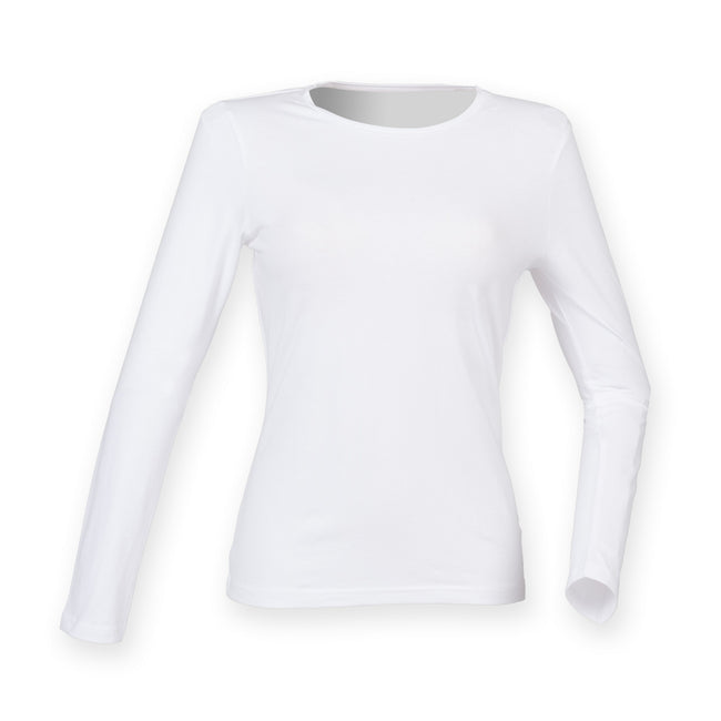 White - Front - Skinni Fit Womens-Ladies Feel Good Stretch Long Sleeve T-Shirt
