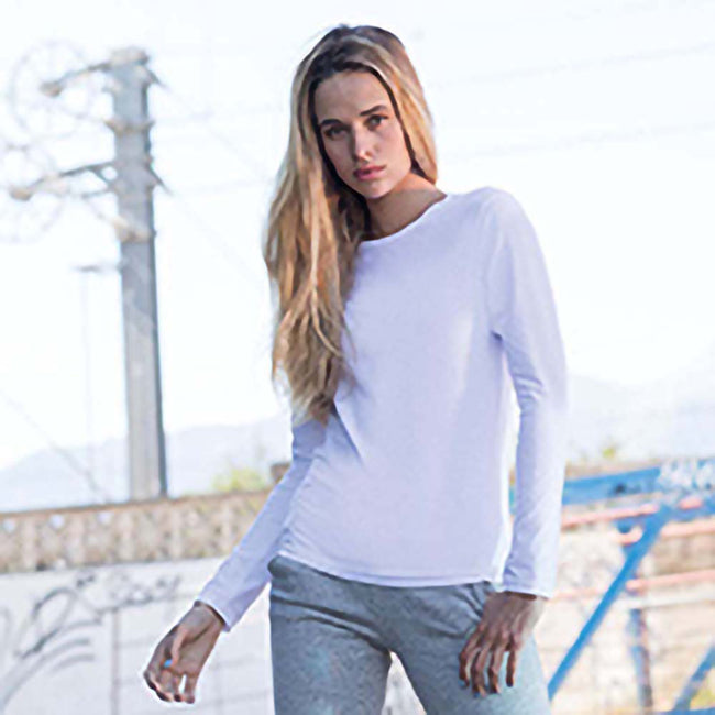 White - Side - Skinni Fit Womens-Ladies Feel Good Stretch Long Sleeve T-Shirt