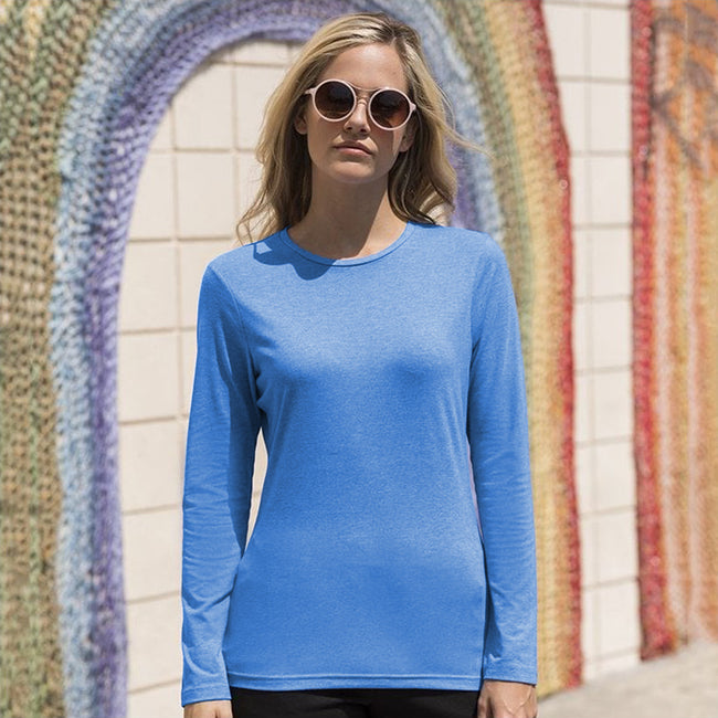 Heather Blue - Back - Skinni Fit Womens-Ladies Feel Good Stretch Long Sleeve T-Shirt