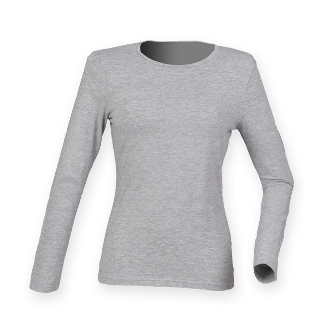 Heather Grey - Front - Skinni Fit Womens-Ladies Feel Good Stretch Long Sleeve T-Shirt