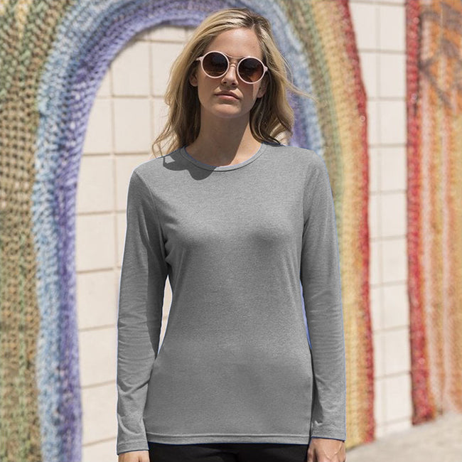 Heather Grey - Back - Skinni Fit Womens-Ladies Feel Good Stretch Long Sleeve T-Shirt