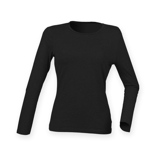 Black - Front - Skinni Fit Womens-Ladies Feel Good Stretch Long Sleeve T-Shirt