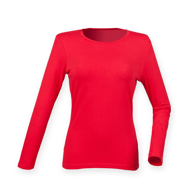 Bright Red - Front - Skinni Fit Womens-Ladies Feel Good Stretch Long Sleeve T-Shirt