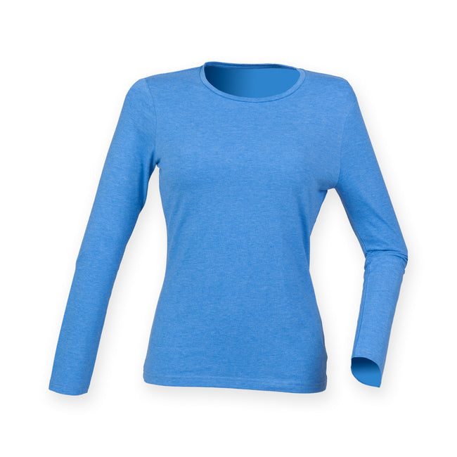 Heather Blue - Front - Skinni Fit Womens-Ladies Feel Good Stretch Long Sleeve T-Shirt