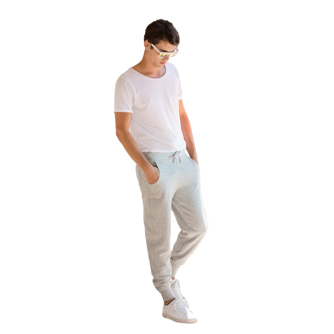 Heather Gray - Back - Skinnifit Mens Slim Cuffed Jogging Bottoms-Trousers