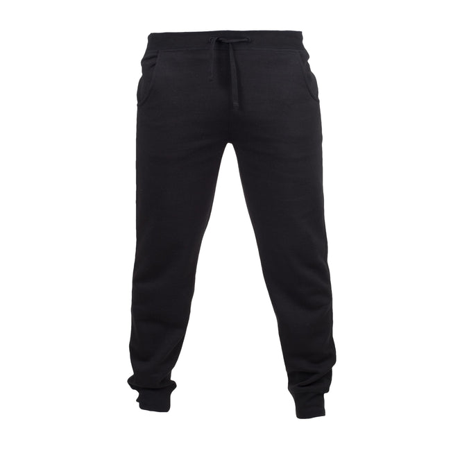 Black - Front - Skinnifit Mens Slim Cuffed Jogging Bottoms-Trousers