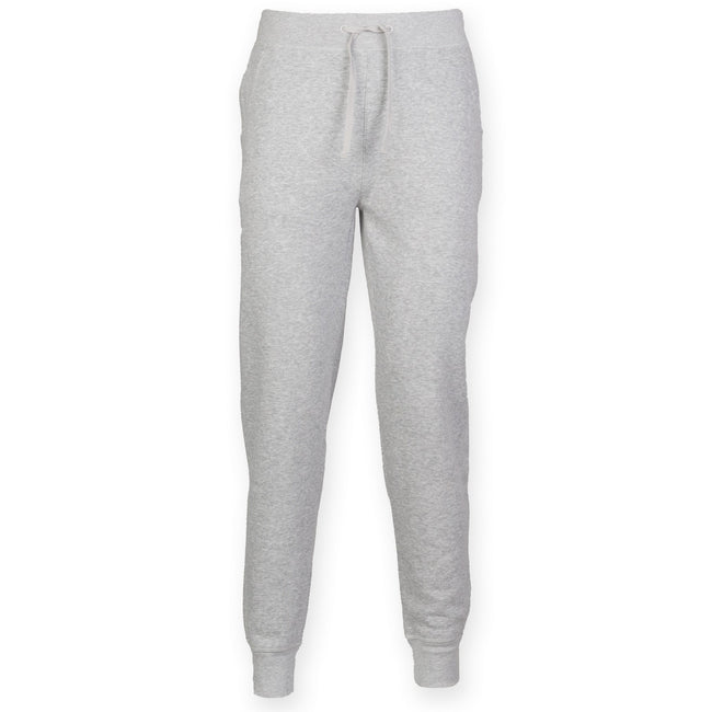 Heather Gray - Front - Skinnifit Mens Slim Cuffed Jogging Bottoms-Trousers