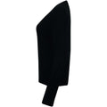 Black - Side - Henbury Womens-Ladies V-Neck Button Up Cardigan