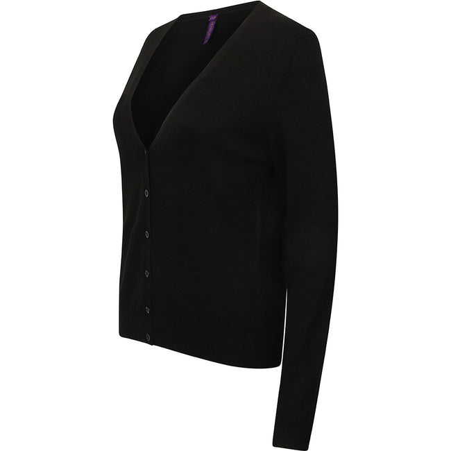 Black - Lifestyle - Henbury Womens-Ladies V-Neck Button Up Cardigan