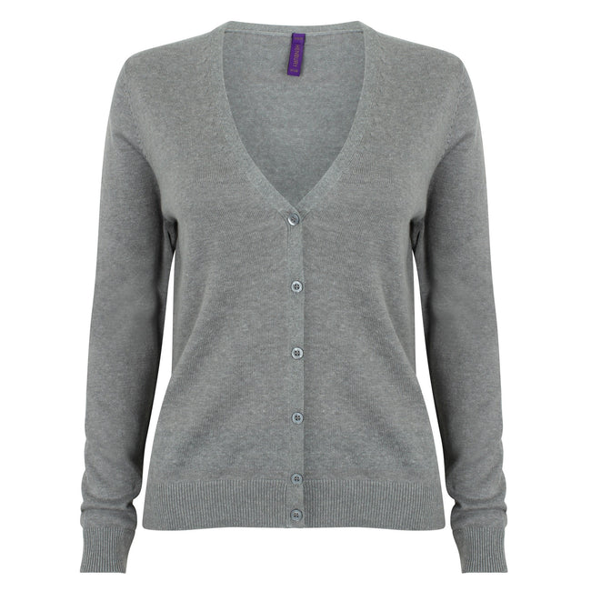 Black - Pack Shot - Henbury Womens-Ladies V-Neck Button Up Cardigan