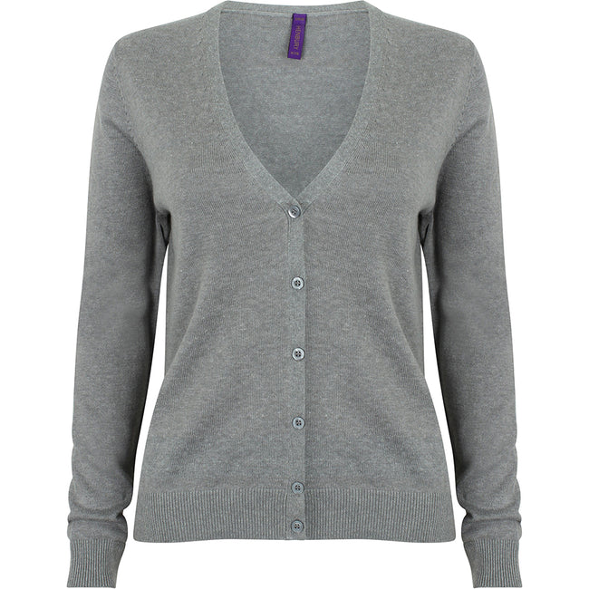Slate Grey Marl - Back - Henbury Womens-Ladies V-Neck Button Up Cardigan