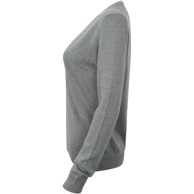Slate Grey Marl - Side - Henbury Womens-Ladies V-Neck Button Up Cardigan