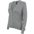 Slate Grey Marl - Lifestyle - Henbury Womens-Ladies V-Neck Button Up Cardigan