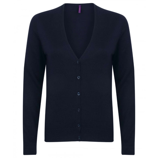 Slate Grey Marl - Pack Shot - Henbury Womens-Ladies V-Neck Button Up Cardigan