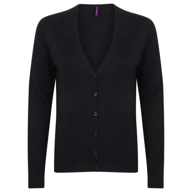 Black - Front - Henbury Womens-Ladies V-Neck Button Up Cardigan