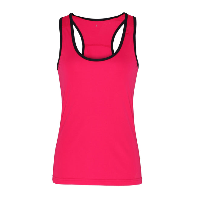 Black - Front - Tri Dri Womens-Ladies Panelled Fitness Vest