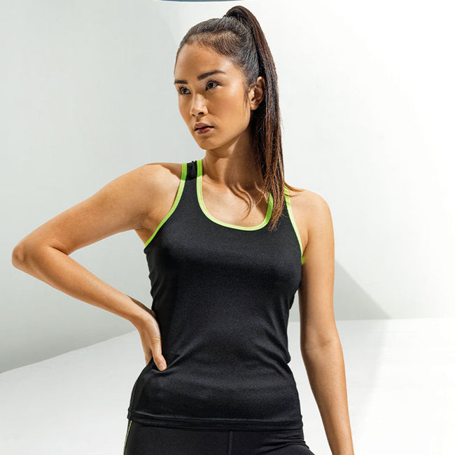 Black- Lightning Green - Back - Tri Dri Womens-Ladies Panelled Fitness Vest