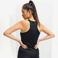Black- Lightning Green - Side - Tri Dri Womens-Ladies Panelled Fitness Vest