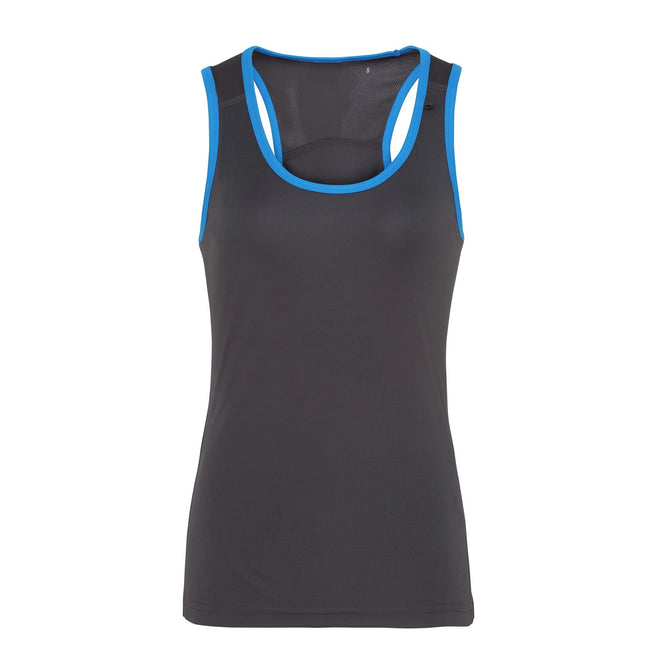 Charcoal - Sapphire - Front - Tri Dri Womens-Ladies Panelled Fitness Vest