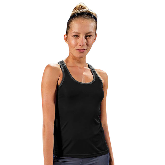 Hot Pink - Black - Front - Tri Dri Womens-Ladies Panelled Fitness Vest
