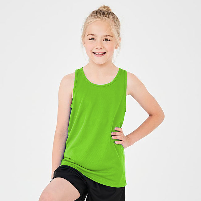 Fire Red - Back - AWDis Just Cool Childrens-Kids Plain Sleeveless Vest Top