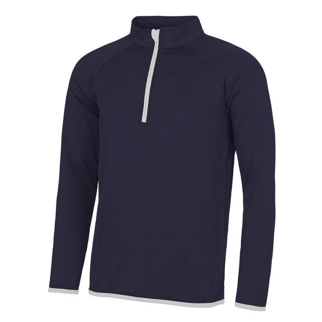 French Navy- Arctic White - Front - AWDis Just Cool Mens Half Zip Sweatshirt