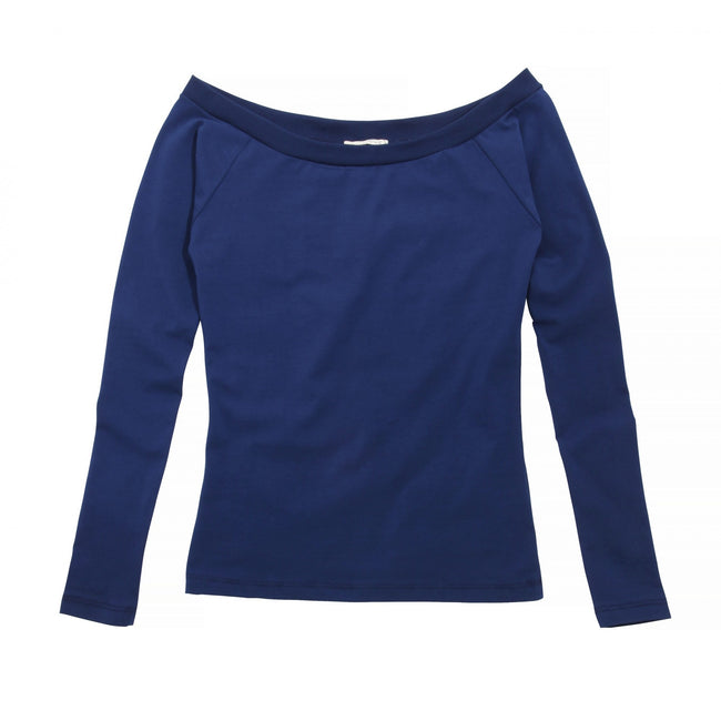 Navy - Front - Brave Soul Womens-Ladies Jazz Bardot Long Sleeve Open Neck Top