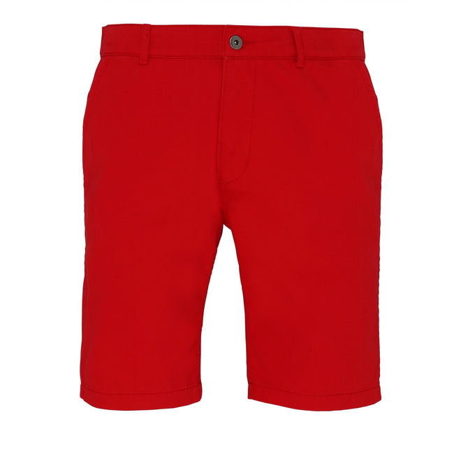Cherry Red - Front - Asquith & Fox Mens Casual Chino Shorts