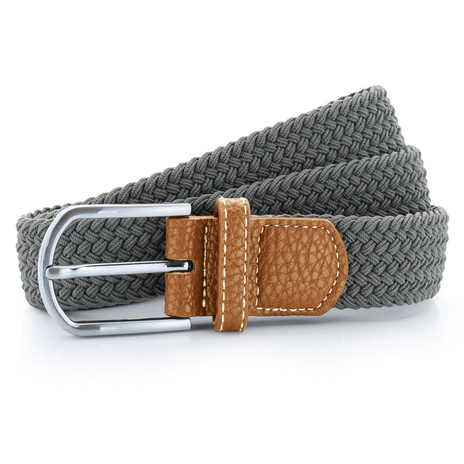 Slate - Front - Asquith & Fox Mens Woven Braid Stretch Belt