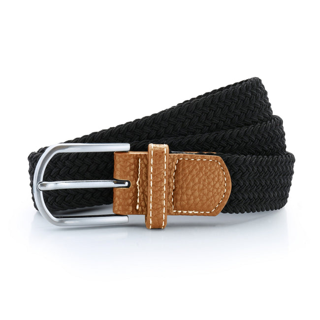 Black - Front - Asquith & Fox Mens Woven Braid Stretch Belt