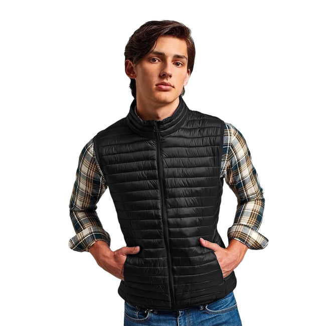 Navy - Front - 2786 Mens Tribe Fineline Padded Gilet-Bodywarmer