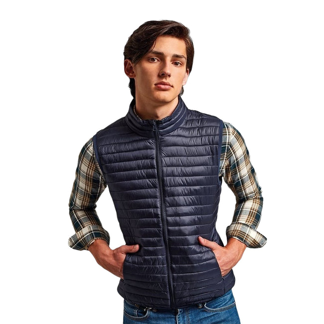 Royal - Front - 2786 Mens Tribe Fineline Padded Gilet-Bodywarmer