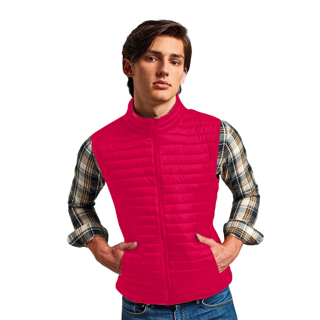 White - Front - 2786 Mens Tribe Fineline Padded Gilet-Bodywarmer