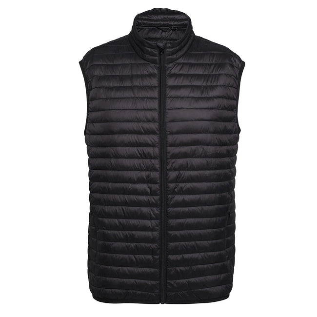 Black - Front - 2786 Mens Tribe Fineline Padded Gilet-Bodywarmer