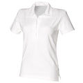 White - Front - Front Row Womens-Ladies Short Sleeve Stretch Rugby Shirt