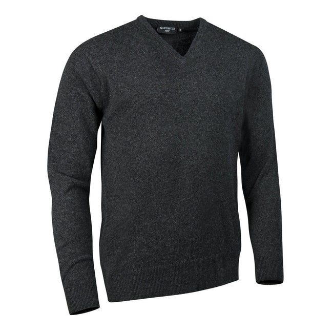 Charcoal - Front - Glenmuir Lomond V-Neck Lambswool Sweater - Knitwear
