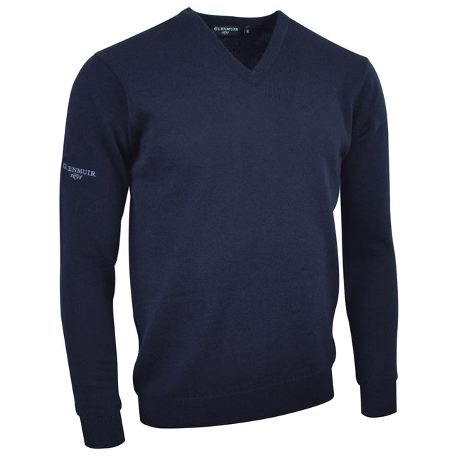 Navy - Front - Glenmuir Lomond V-Neck Lambswool Sweater - Knitwear
