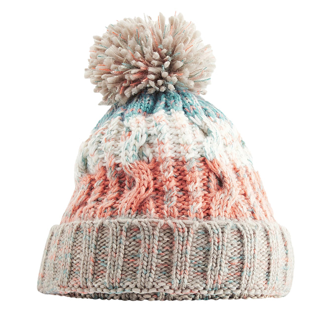 Retro Blue - Front - Beechfield Unisex Adults Corkscrew Knitted Pom Pom Beanie Hat