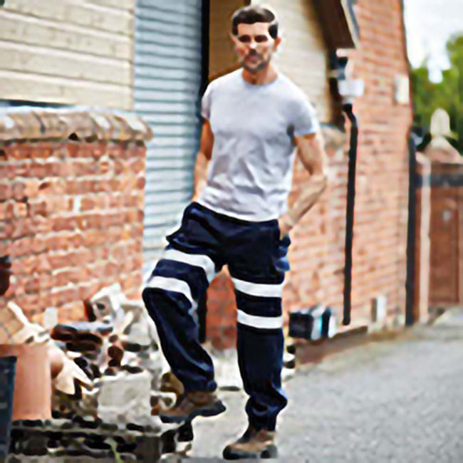 Navy - Back - Yoko Mens Hi Visibility Reflective Work Jogging Bottoms