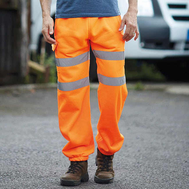 Orange - Back - Yoko Mens Hi Visibility Reflective Work Jogging Bottoms