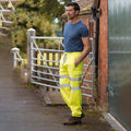 Yellow - Back - Yoko Mens Hi Visibility Reflective Work Jogging Bottoms