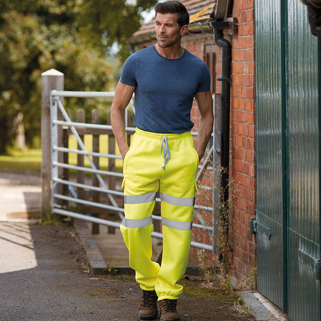 Yellow - Side - Yoko Mens Hi Visibility Reflective Work Jogging Bottoms