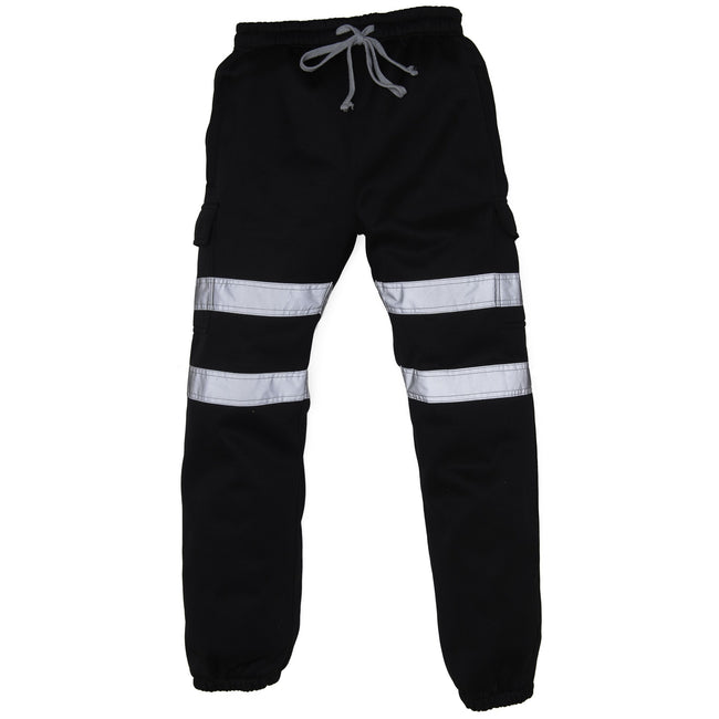 Black - Front - Yoko Mens Hi Visibility Reflective Work Jogging Bottoms
