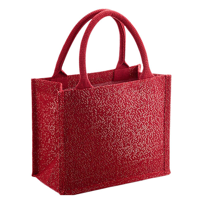 Red- Gold - Front - Westford Mill Shimmer Jute Mini Gift Bag
