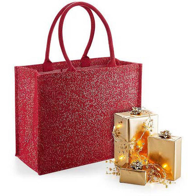 Red- Gold - Side - Westford Mill Shimmer Jute Mini Gift Bag