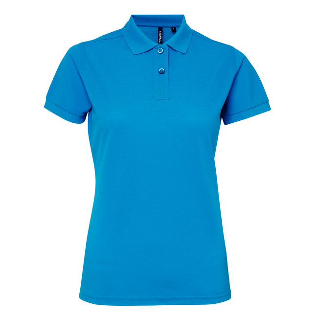 Charcoal - Front - Asquith & Fox Womens-Ladies Short Sleeve Performance Blend Polo Shirt