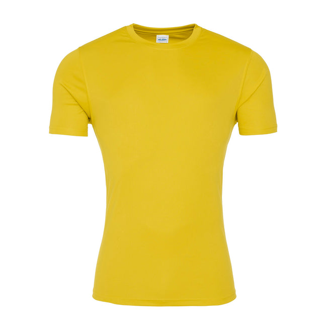 Sun Yellow - Front - AWDis Just Cool Mens Smooth Short Sleeve T-Shirt